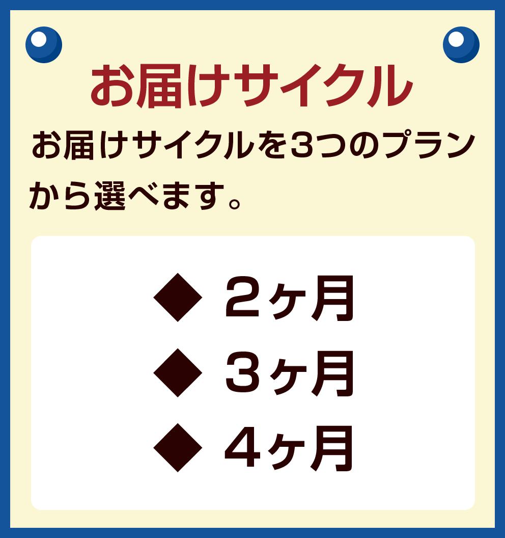 お届けサイクル お届けサイクルを3つのプラ ンから選べます。