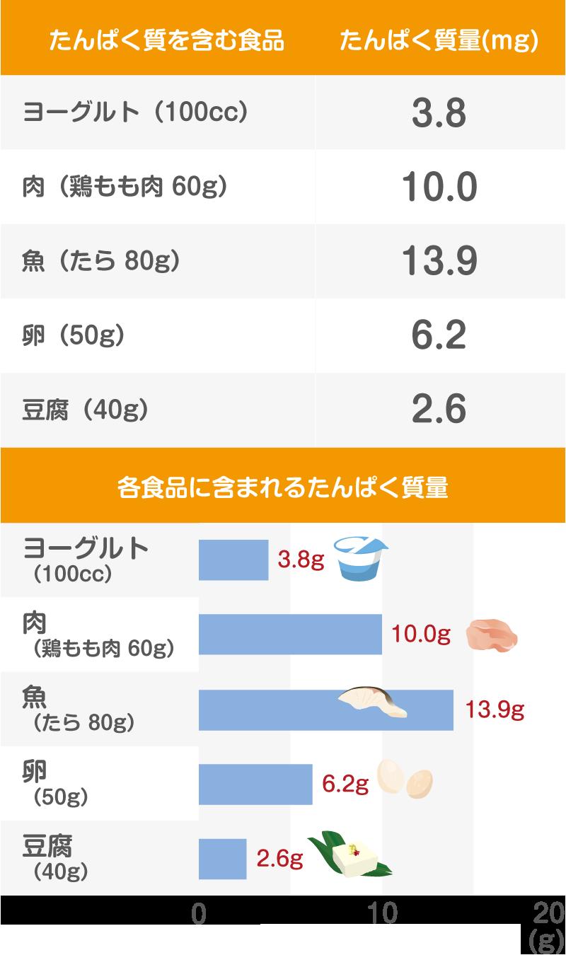たんぱく質のグラフ