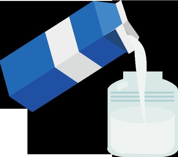 牛乳をビンに入れる