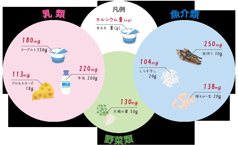 カルシウムを多く含む食品(常用量)